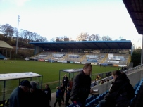 The East Stand of the Shay - empty for today's game, but doubled well as an advertising space.