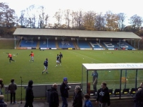 The Shay - home of FC Halifax Town - this looks to be an older stand and was empty on the day.