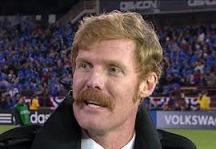 Alexi Lalas, famous for his goatie in his playing days, sporting a very full stache