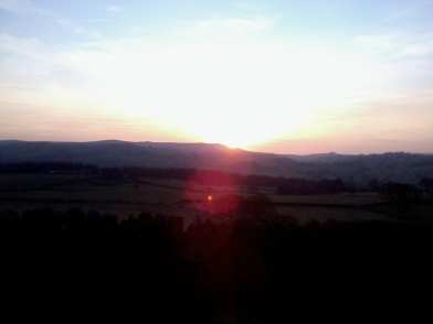 The beautiful sunset over the moors