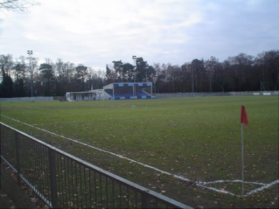 Calthorpe Park - Home of Fleet Town FC. The slope on this pitch from end to end is so drastic that it effects tactics considerably.