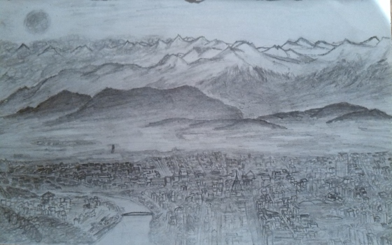 I've also been trying to draw...this is my best effort at Torino, with the Alps in the background.