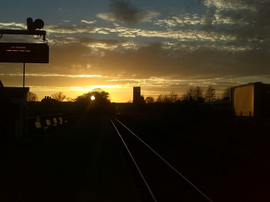 A recent sunset over the tracks
